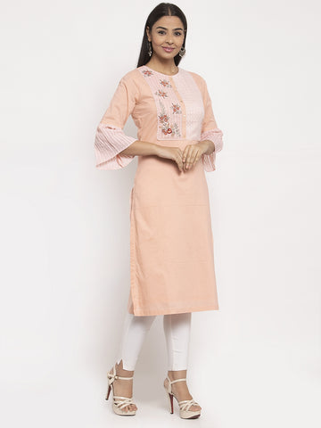 Aujjessa Peach Embroidered Straight Kurta