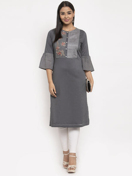 Aujjessa Grey Embroidered Straight Kurta