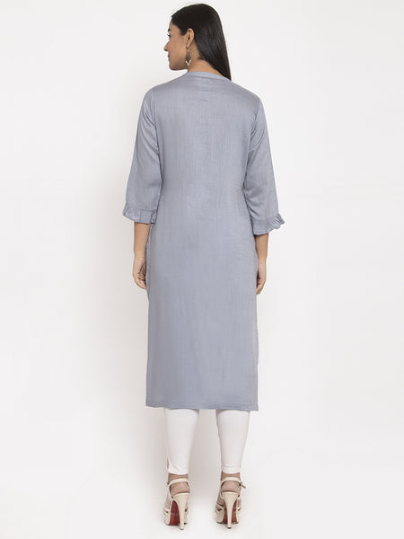Aujjessa Silver Grey Embroidered Rayon Kurta