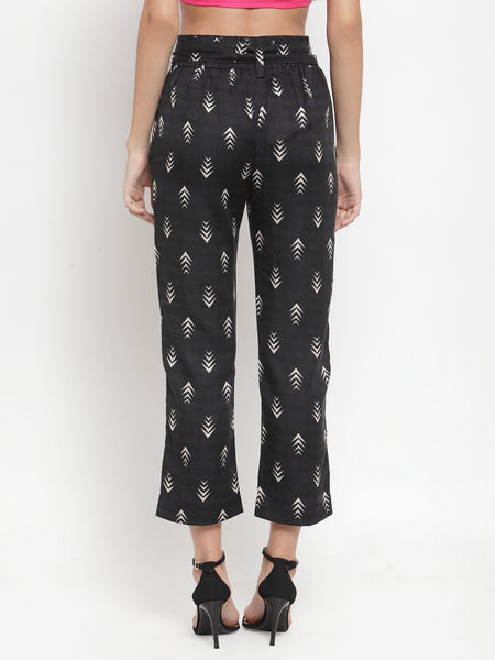 Aujjessa Black Printed Regular fit Peg Rayon Trouser