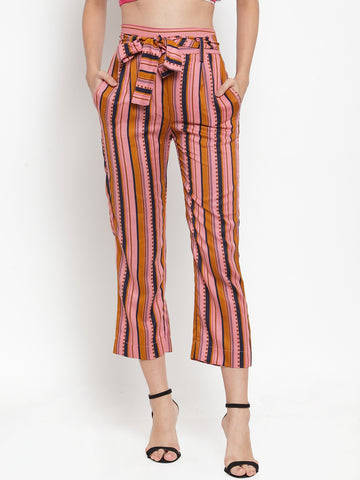 Aujjessa Rose Pink Striped Regular fit Peg Rayon Trouser