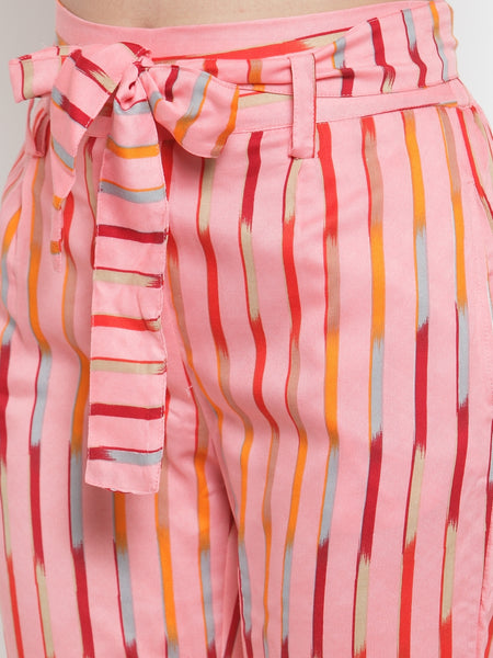 Aujjessa Pink Multi Striped Regular fit Peg Rayon Trouser