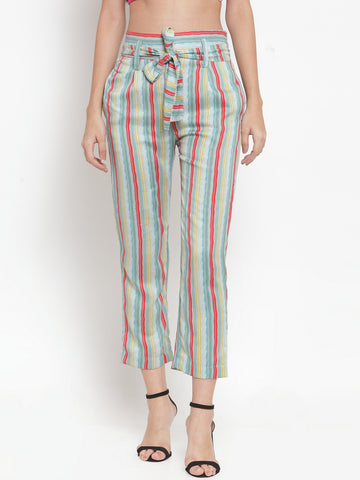 Aujjessa Melange Multi Striped Regular fit Peg Rayon Trouser