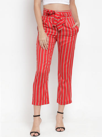 Aujjessa Red Multi Striped Regular fit Peg Rayon Trouser