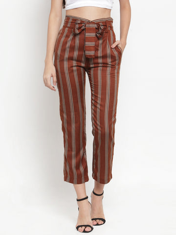 Aujjessa Earthen Brown Striped Regular fit Peg Rayon Trouser