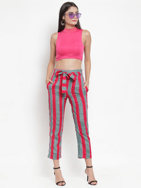 Aujjessa Fuschia Multi Striped Regular fit Peg Rayon Trouser