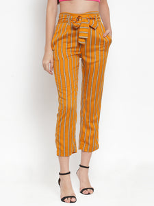 Aujjessa Mustard Multi Striped Regular fit Peg Rayon Trouser