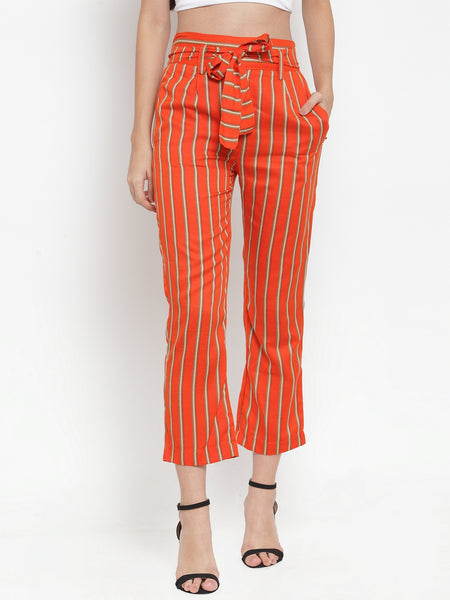 Aujjessa Rustic Orange Striped Regular fit Peg Rayon Trouser