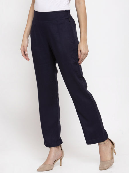 Aujjessa Navy Blue Rayon Regular Trouser