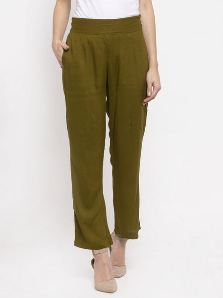 Aujjessa Olive Green Rayon Regular Trouser