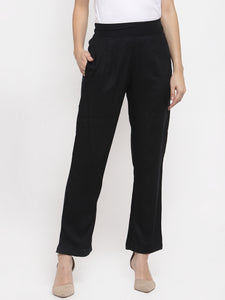 Aujjessa Black Rayon Regular Trouser