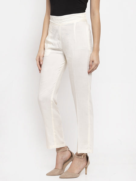 Aujjessa Cream Rayon Regular Trouser