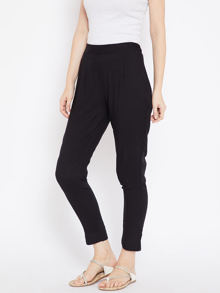 Aujjessa Women Black Solid Trousers