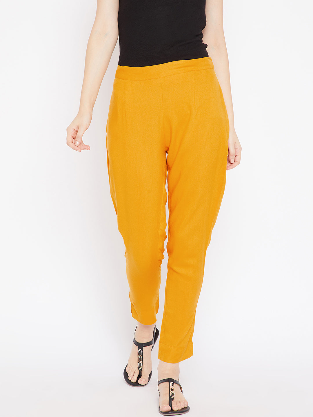 Aujjessa Women Mustard Solid Trousers