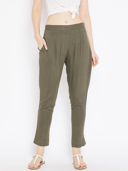Aujjessa Women Military Green Solid Trousers