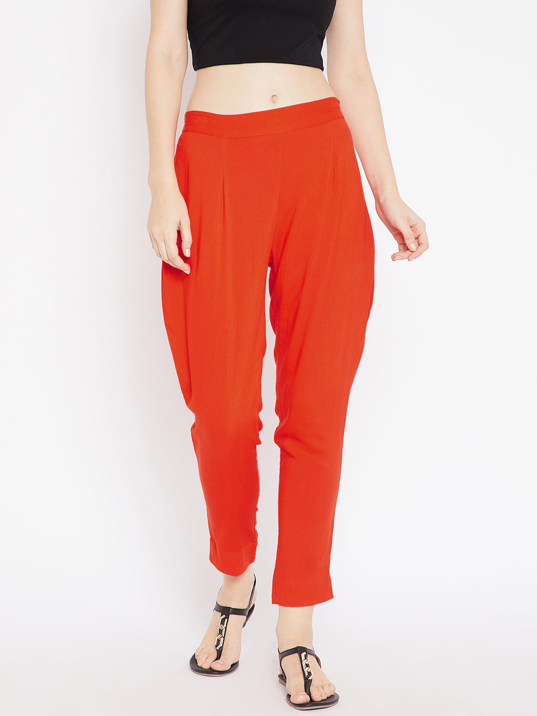 Aujjessa Women Orange Solid Trousers