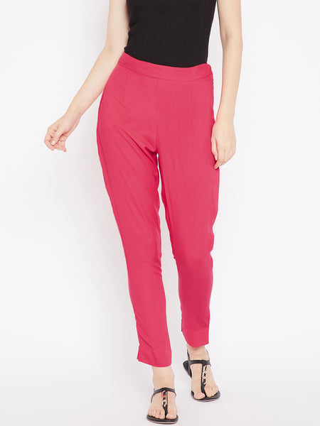 Aujjessa Women Peach Solid Trousers
