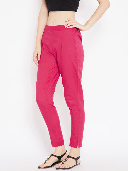 Aujjessa Women Fuschia Solid Trousers