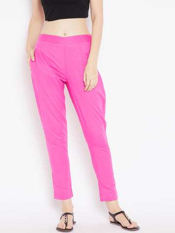 Aujjessa Women Light Pink Solid Trousers
