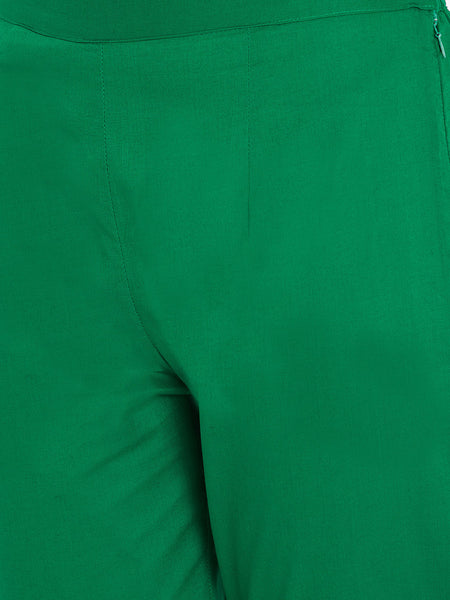 Aujjessa Women Green Solid Trousers