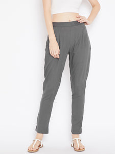 Aujjessa Women Grey Solid Trousers