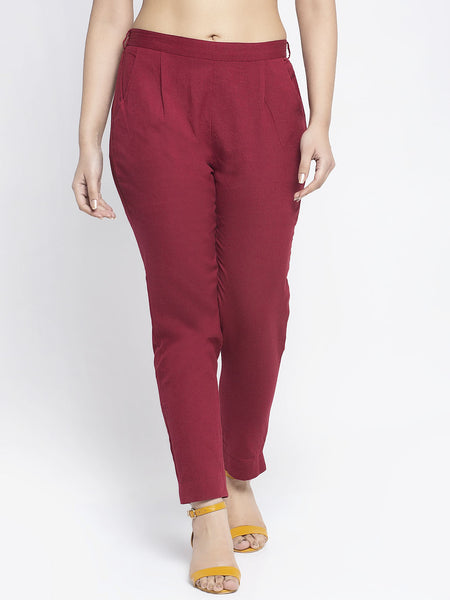 Aujjessa Maroon Cotton Trousers
