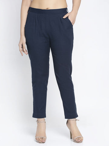 Aujjessa Navy Blue Cotton Trousers