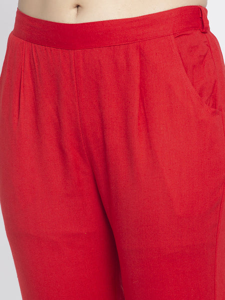 Aujjessa Red Cotton Trousers