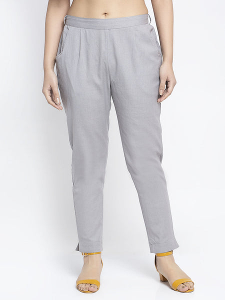 Aujjessa Light Grey Cotton Trousers