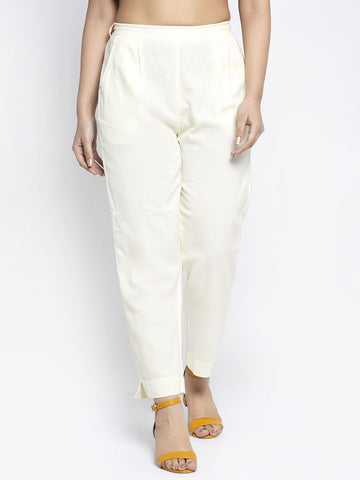 Aujjessa Cream Cotton Trousers