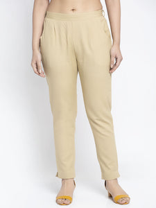 Aujjessa Beige Cotton Trousers