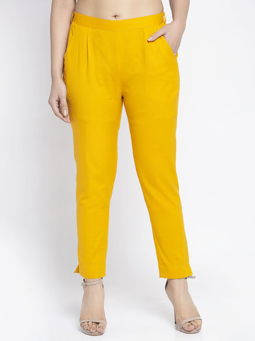 Aujjessa Mustard Cotton Trousers