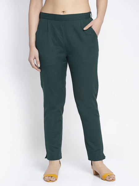 Aujjessa Bottle Green Cotton Trousers