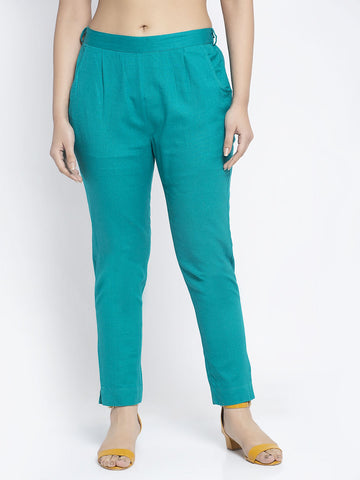 Aujjessa Sea Green Cotton Trousers