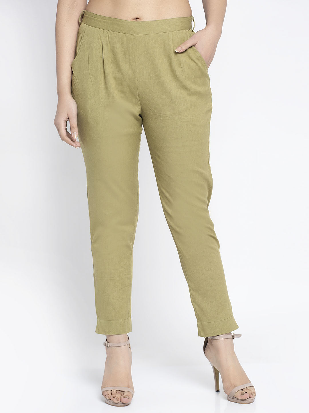 Aujjessa Olive Green Cotton Trousers