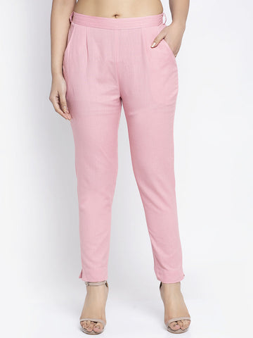 Aujjessa Pink Cotton Trousers
