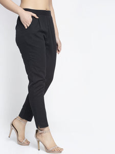 Aujjessa Black Cotton Trousers