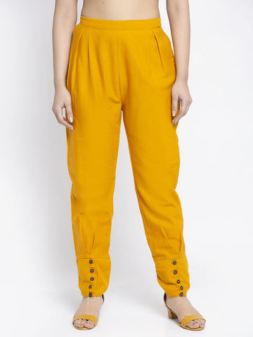 Aujjessa Mustard Cotton Jodhpuris Trousers