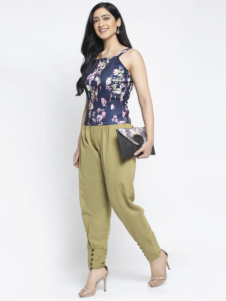 Aujjessa Olive Green Cotton Jodhpuris Trousers