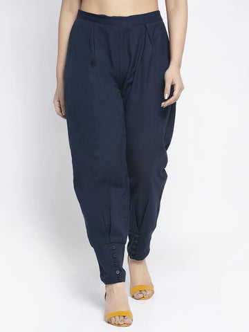 Aujjessa Navy Blue Cotton Jodhpuris Trousers
