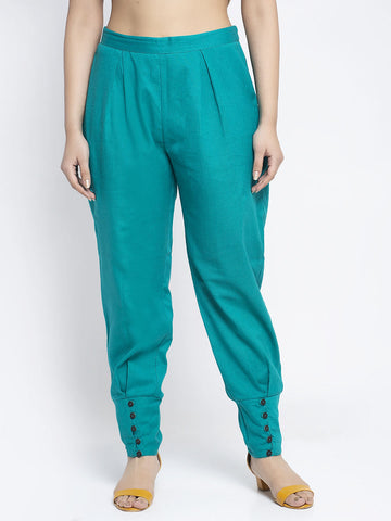 Aujjessa Sea Green Cotton Jodhpuris Trousers