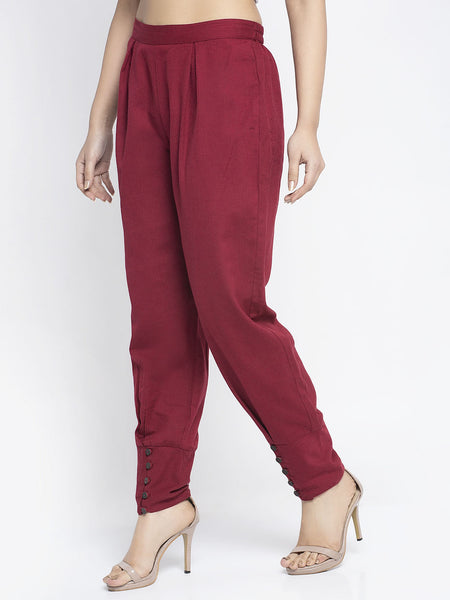 Aujjessa Maroon Cotton Jodhpuris Trousers