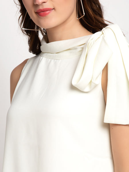 Aujjessa Cream Bow Collar Flared Top