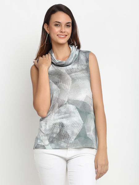 Aujjessa Black & White Printed Top