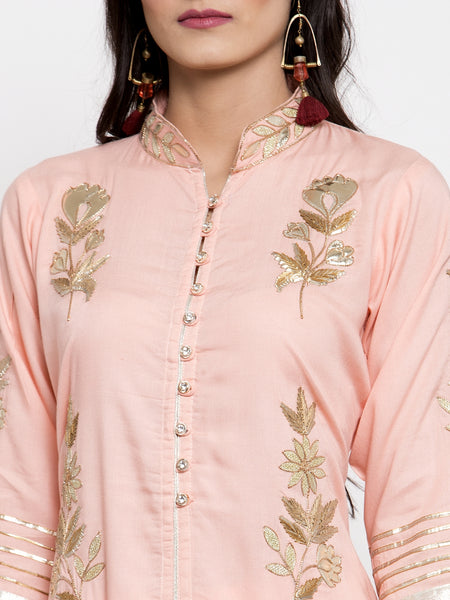 Aujjessa Peach Gotta Patti Kurta Sharara Set