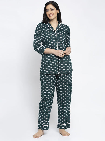 Aujjessa Bottle Green Cotton Printed Night Suit