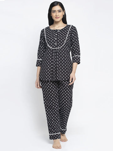 Aujjessa Black White Cotton Printed Night Suit