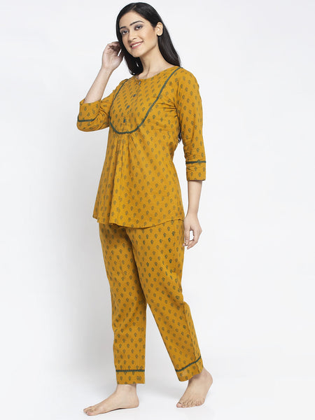 Aujjessa Mustard Green Cotton Printed Night Suit
