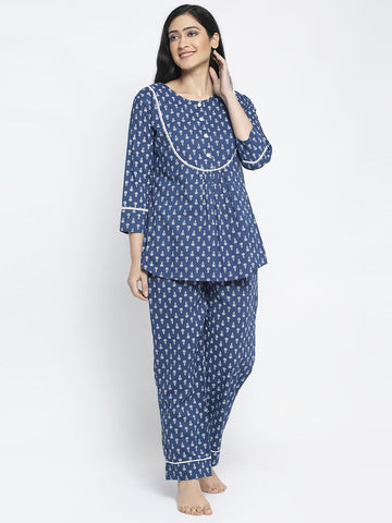 Aujjessa Indigo White Cotton Printed Night Suit