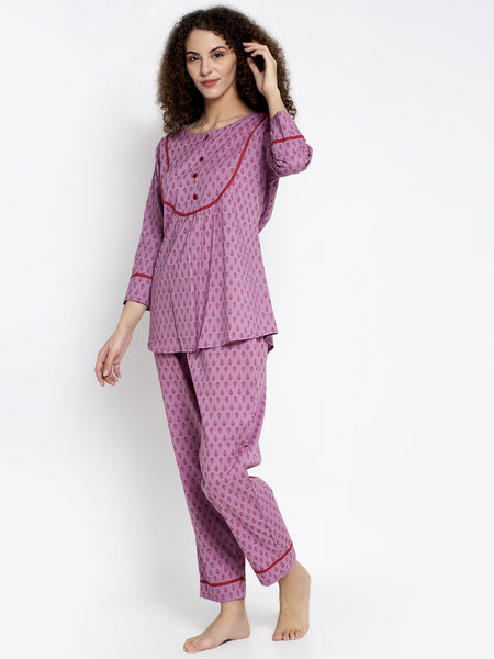 Aujjessa Lilace Red Cotton Printed Night Suit